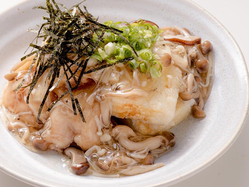 若鶏と揚げ豆腐のたっぷりキノコ餡かけ